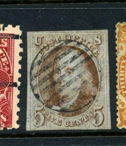 Scott #1 Franklin Imperf Used Stamp with Nice Cancel (Stock #1-41)