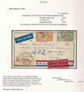 France 1930 Aeropostal Airmail Cover to Buenos Aires Argentina - Free UK Postage