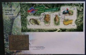 Malaysia 1997 Protected Wildlife FDC with Royal Selangor Pewter stamp