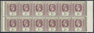 LEEWARD ISLANDS 1921 KGV 5D BLOCK MNH ** WMK MULTI SCRIPT CA