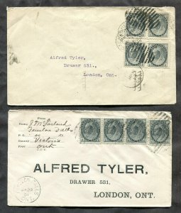 p976 - Canada Lot of (2) Covers. EXPERIMENTAL Perfection London Receiver. ½c QV