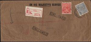 AUSTRALIA 1929 OHMS Reg OS Perfins : Perth to Narrogin - unclaimed........18245W