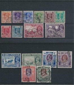 BURMA 1938-40 SET OF SIXTEEN G/FU SG 18/33 CAT £190