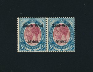 SOUTH WEST AFRICA 1923, 5sh SETTING 2, VF MLH SG#13 CAT£160 (SEE BELOW)