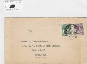 malaya to amsterdam1938 stamp cover Ref 8862