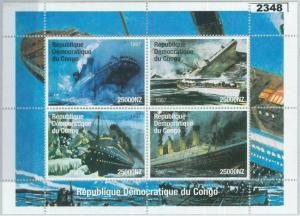 2348 - 1997 CONGO, MINIATURE SHEET: Ships, Boats, Titanic