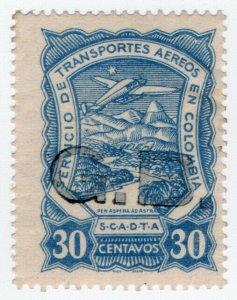 (I.B) Colombia Postal: SCADTA Airmail 30c (GB overprint)
