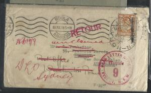 NORTHERN RHODESIA  (P1703B)  1939 NDOLA KGVI 2D TO AUSTRALIA, DLO AND RETURNED
