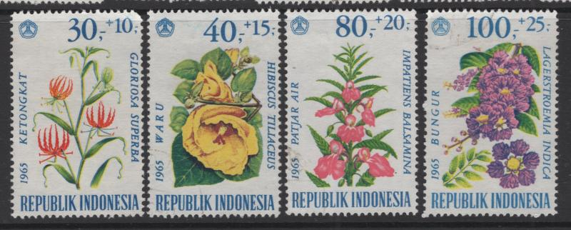 Republic of Indonesia 1965 Flowers Set 4 Stamps Scott B191-4 Used F