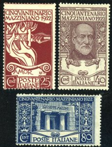 ITALY #140-142 Mazzini Postage Stamp Collection 1922 EUROPE Mint NH OG