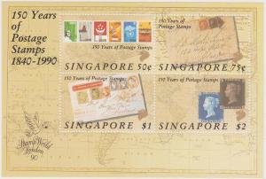 Singapore - 1990 Stamps on Stamps Souvenir Sheet VF-NH