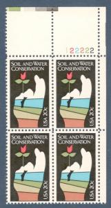 2074 Soil & Water Conservation Plate Block Mint/nh (Free Shipping)