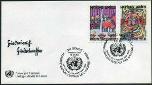 UN Geneva 119-120,FDC.Mi 117-118. Declaration of Human Rights,35th Ann.1983.Art.