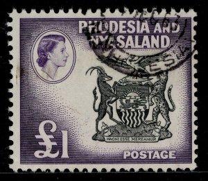 RHODESIA & NYASALAND QEII SG31, £1 black & deep violet, FINE USED. Cat £65.