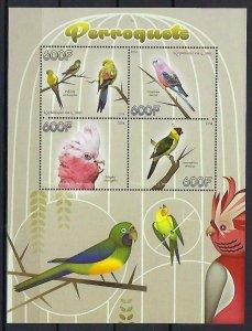 Congo MNH S/S Parrots Birds 2014 4 Stamps