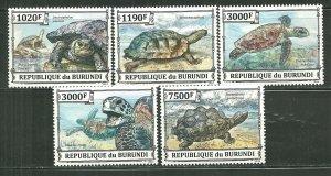 Burundi MNH Set Of 5 Turtles Reptiles 2013