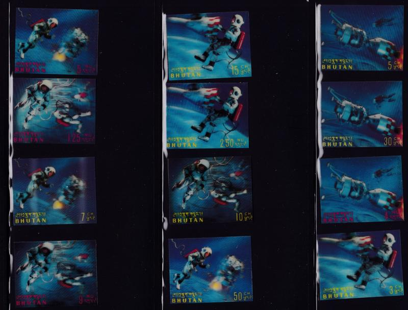 Bhutan 1967 SPACE in 3-D Process Complete Set (12) VF Air Mails inc