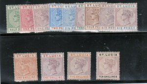 St Lucia #27 - #39 Mint Fine - Very Fine Full Original Gum Hinged Set