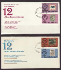 Nicaragua 1038-4,C913-7 Stamp on Stamp 1976 S/6 U/A FDC