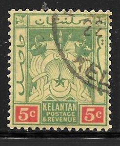 Malaya Kelantan 4: 5c Coat of Arms, used, F-VF