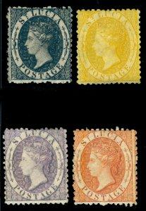 MOMEN: ST. LUCIA SG #11-14 1864-76 P12.5 CROWN CC MINT OG 3NH/1H(#14) LOT #60351