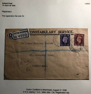 1938 Sutton Coldfield England Constabulary Service Cover To Birkenhead