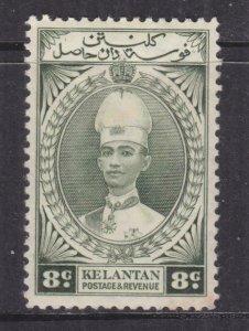 KELANTAN, 1937 Sultan Ismail, 8c. Grey Olive, lhm.