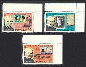 Tuvalu Death Centenary of Sir Rowland Hill 3v Corners 1979 MNH SG#131-133