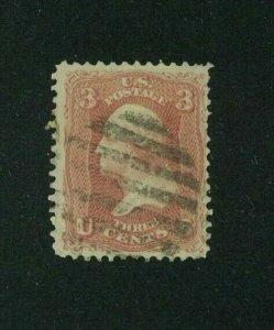 US 1861 3c rose Washington, Scott 65 used, Value = $3.00