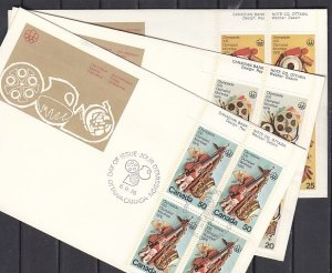 Canada, Scott cat. 684-686. Olympics-Fine Arts, Blks of 4. 3 First day covers. ^