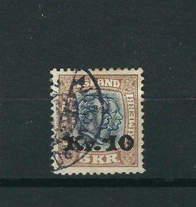 Iceland 143 10Kr on 5Kr Brown & Green Used VF 1930 SCV $575.00