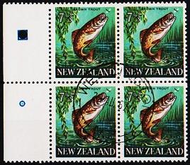 New Zealand. 1967 7 1/2c(Block of 4)) S.G.871  Fine Used