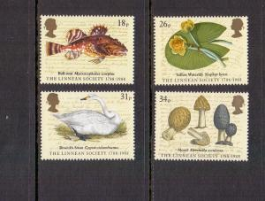 Great Britain 1988 MNH Linnean Society complete set