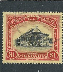 KEDAH 1912 $1 BLACK & RED/YELLOW FU SG 11 CAT £22
