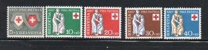 Switzerland Sc B262-66 1957 Pro Patria Red Cross stamp set mint NH