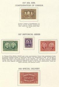 5x Canada MH Stamps #135-146-147-148 & E2 MH F/VF Guide Value = $125.00
