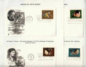 1973 American Arts Sc 1484-7 set of 4 FDCs ArtCraft on album pages