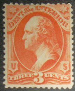 1879 US Stamps Scott #O98 3c Department of the Interior MINT HINGED