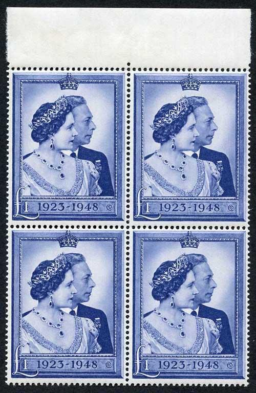 KGVI SG494 1948 One Pound Silver Wedding U/M Block of Four