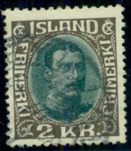 ICELAND #186 (156) 2kr Chr. X, used, VF, Scott $80.00