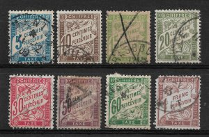 France 1894, Postage Due, lot of 8 stamps Scott # J29//J42, VF Used (SL-1)