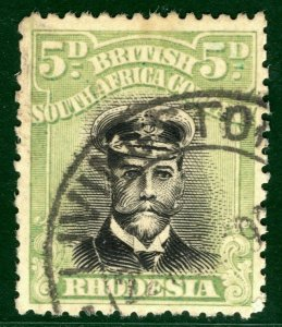 RHODESIA BSACo KGV Admiral SG.255f 5d (Die IIIA) 1917-20 Used Cat £350 EBLUE37