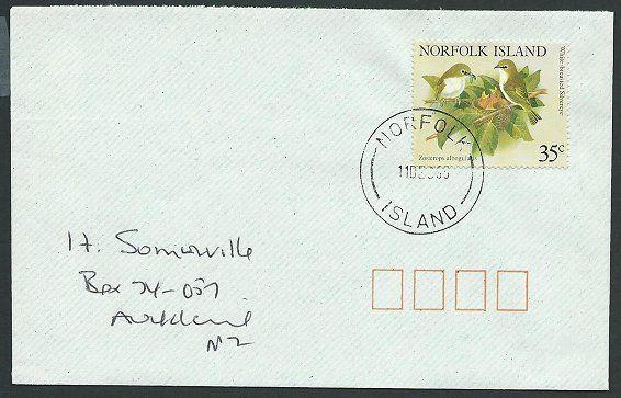 NORFOLK IS 1995 cover to New Zealand - 45c Birds...........................42536