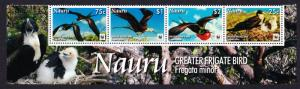 Nauru WWF Greater Frigate Bird Bottom Strip of 4v with Latin Name SG#681-684