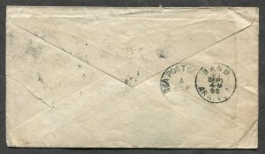 p325 - INDIA Ranchi 1896 Squared Circle on Postal Stationery Cover to BELGIUM