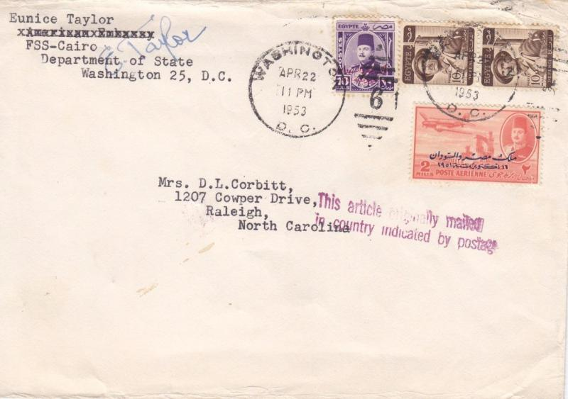 1953 Diplomatic Mail, Cairo, Egypt to Raleigh, NC (21870)