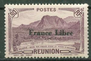 France-Reunion # 203 90c Anchain Peak France Libre (1) Unused VLH
