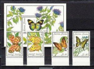 Sierra Leone, Scott cat. 1090-1092, 1094 & 1097. Butterflies Part 2 of issue.