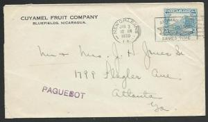 NICARAGUA 1930 cover cancelled on arrival at New Orleans, PAQUEBOT.........58454