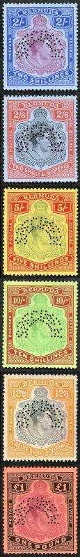 Bermuda 1937 KGVI High Values Set of Six (no gum) perforated SPECIMEN